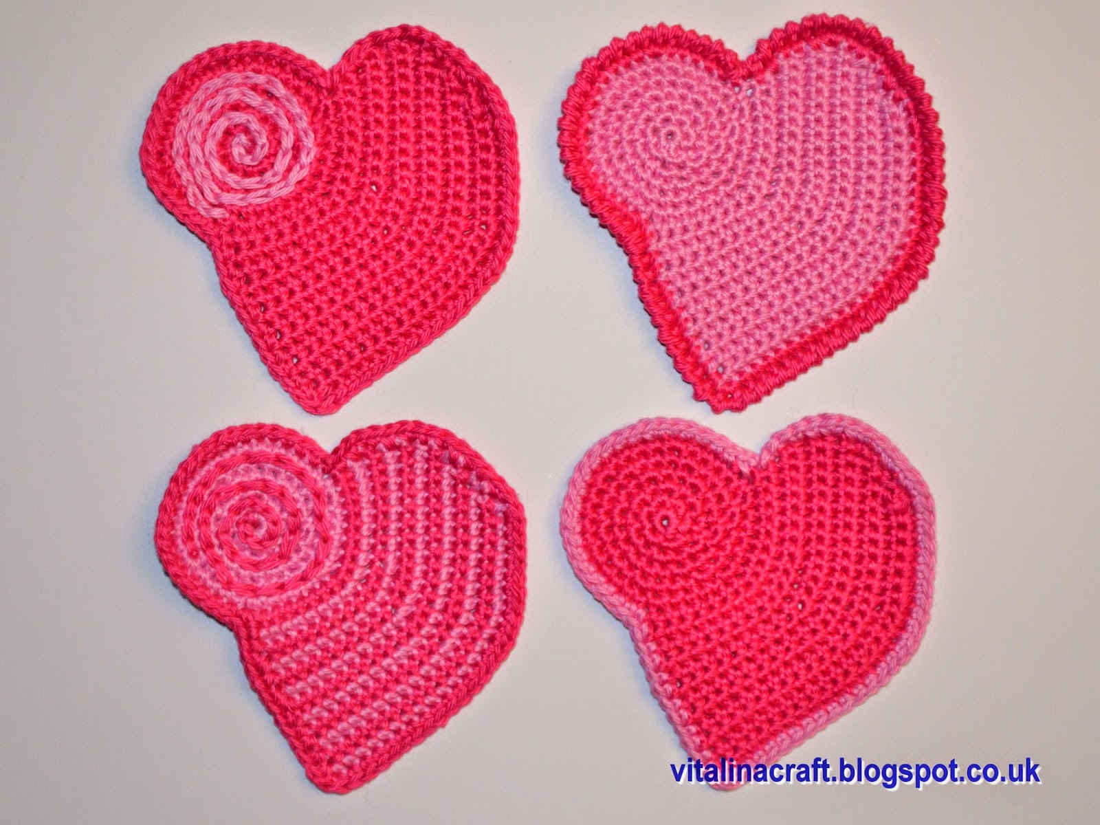 Crochet coasters for St Valentine Day ViTalina Craft