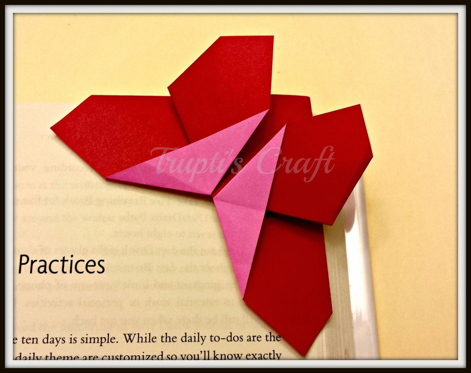 Truptis Craft Origami Butterfly Bookmark