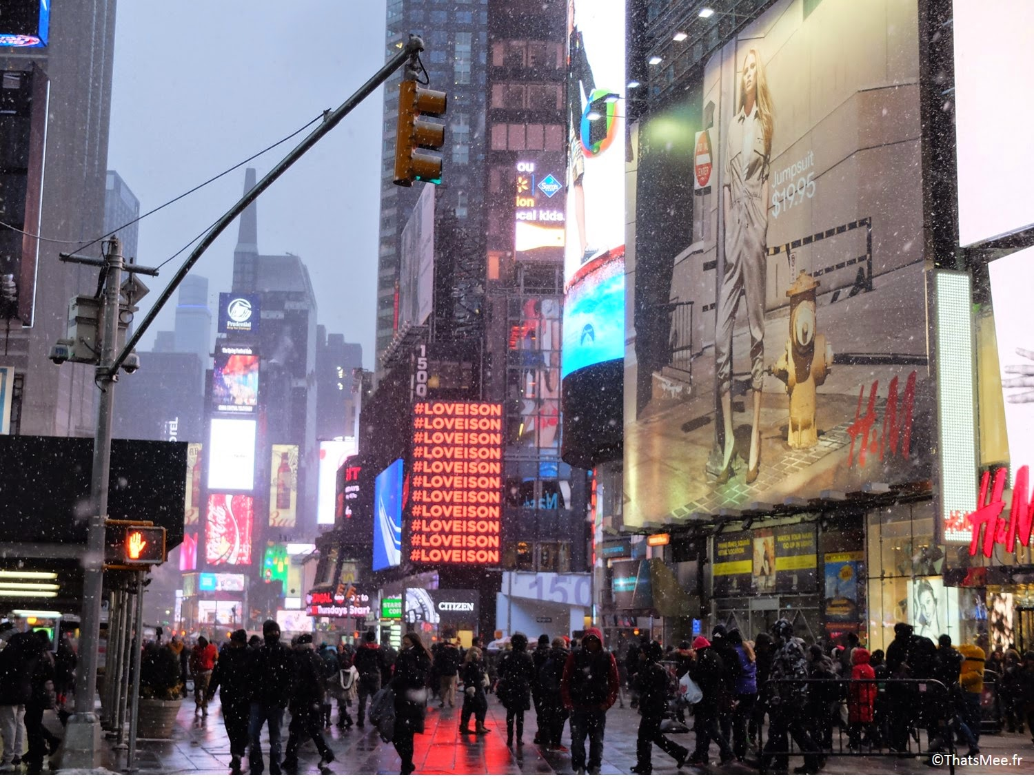 NY visiter New-York Times Square et Broadway chute de neige