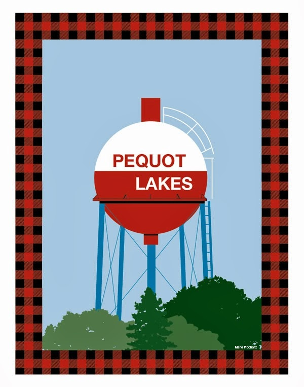 Fishing Bobber Water Tower Pequot Lakes Minnesota - MN Roadside Attraction Travel Poster