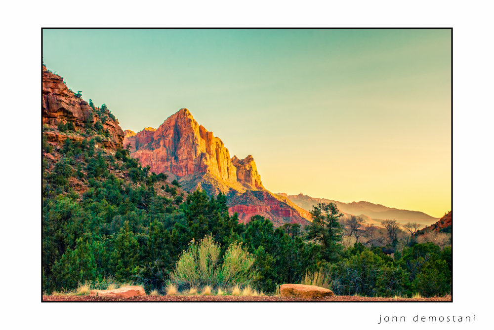 Zion National Park, Landscape Photography, Mountains, rocks, rugged terrain, sunset, colorful geological features, golden rocky mountains,trees at sunset
