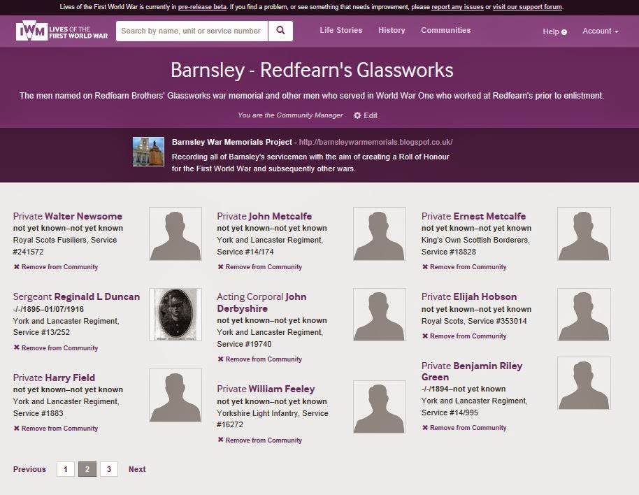 Quite attractive - if you like purple - the Communities page for the Redfearn's Glassworks group I created with nine soldiers attached.