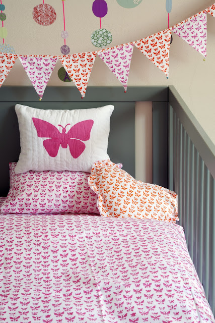 Lulu & Nat | Girls Bedding | Cot/Cot Bed Bedding | Butterfly Print