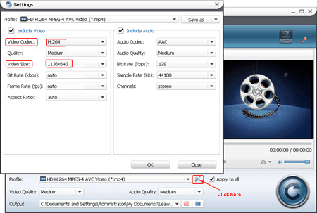 settings for output video