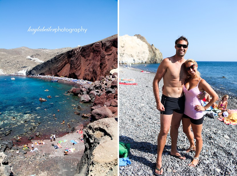 red sand beach santorini photo