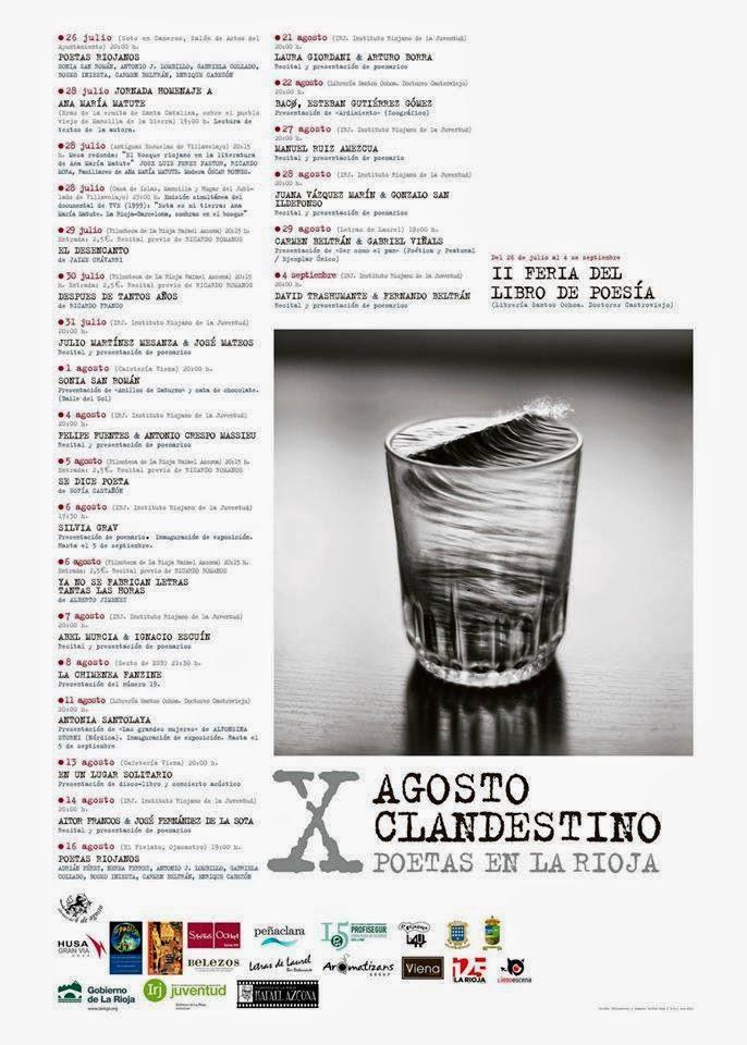 X Agosto Clandestino: Poetas en La Rioja. Programa.