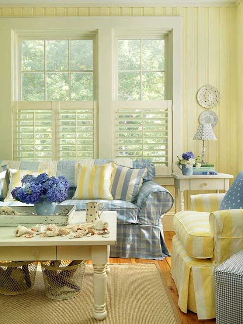 Everything coastal beach cottage sea blues and summer for Living room ideas yellow and blue
