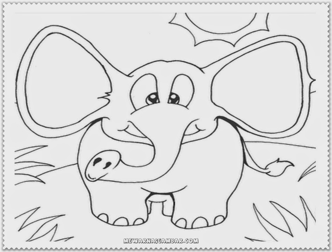 Cute elephant coloring pages free printable kids for Cute elephant coloring pages
