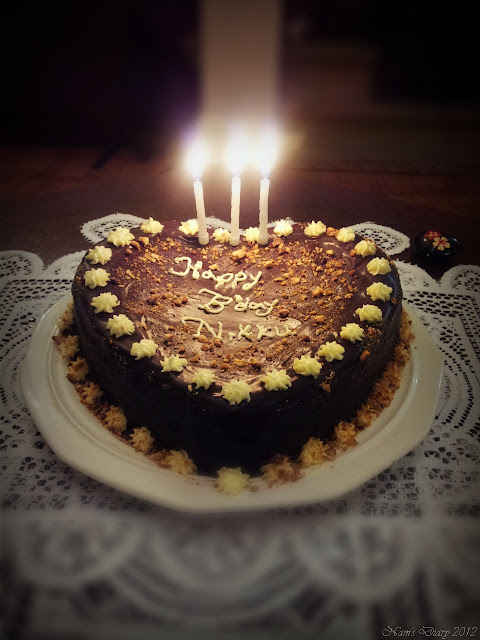 Chocolate cake topped with Chocolate Ganache & Cashew praline, For him on his Birthday :D