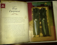 Knives concealed in book.