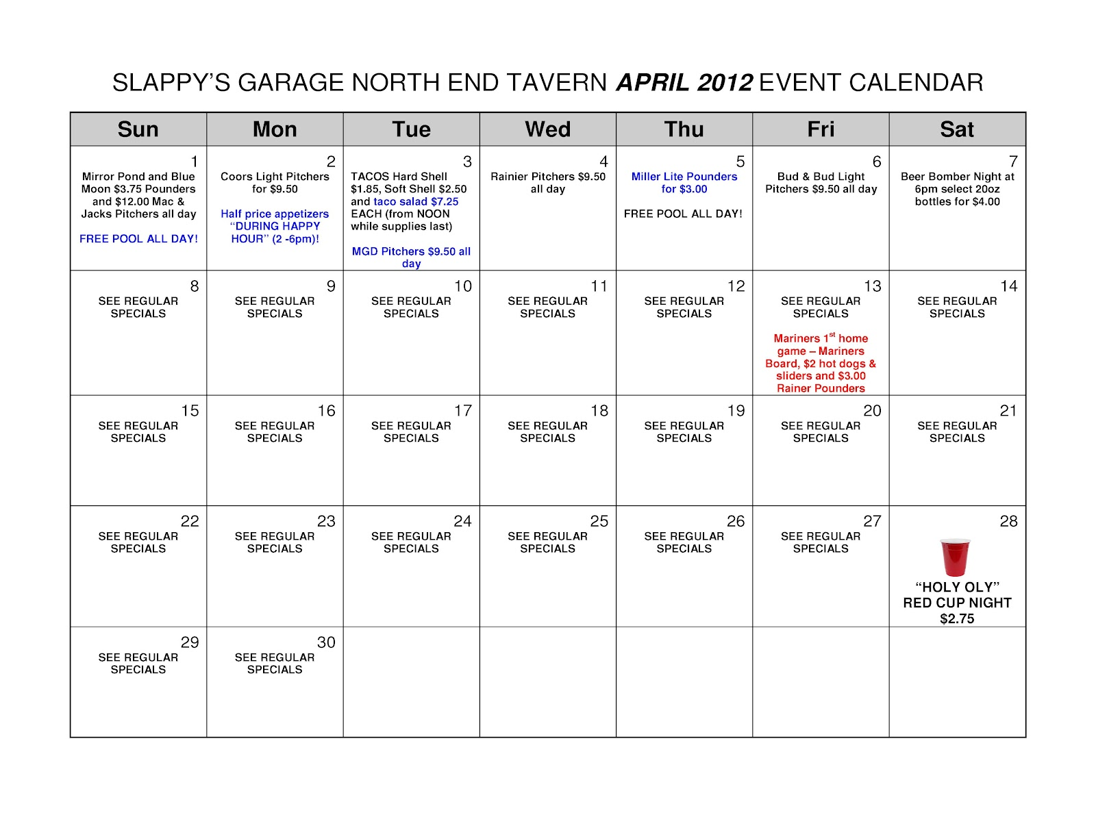 Calendar April Events : Slappy s garage north end tavern april event calendar