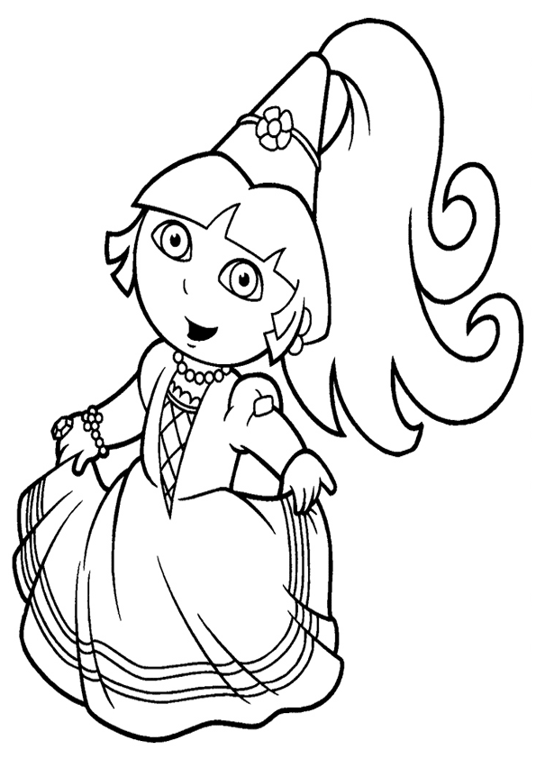 Dibujo de dora la princesa para colorear