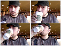 Eric drinking coffee at Starbucks in Enid during National Coffee Day 2011