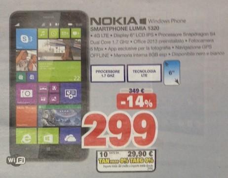 Offerta sul phablet windows phone 8 Lumia 1320 di Nokia con finanziamento a tasso zero