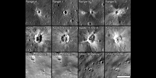 A selection of spacecraft impact sites imaged by LROC, all images to same scale. Image Credit: NASA/GSFC/Arizona State University