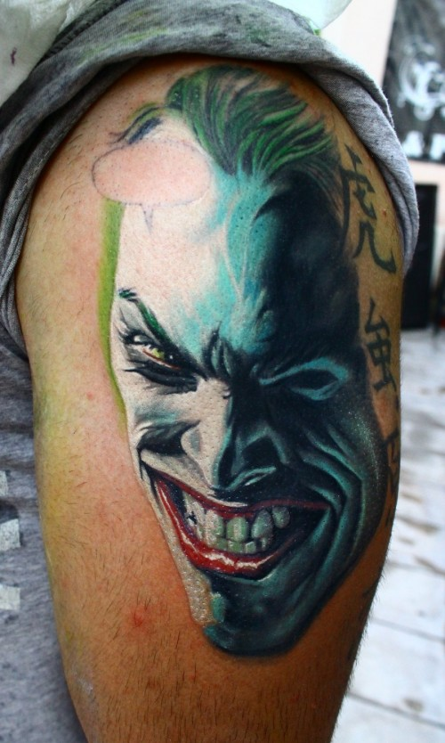 why so serious 10 unique joker tattoo design ideas part ii. Black Bedroom Furniture Sets. Home Design Ideas