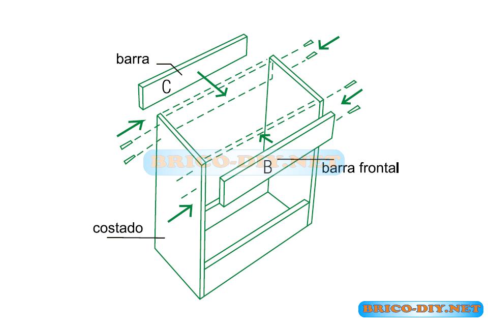 Mueble de cocina plano mueble bajo con puertas de melamina for Planos para muebles de cocina en melamina