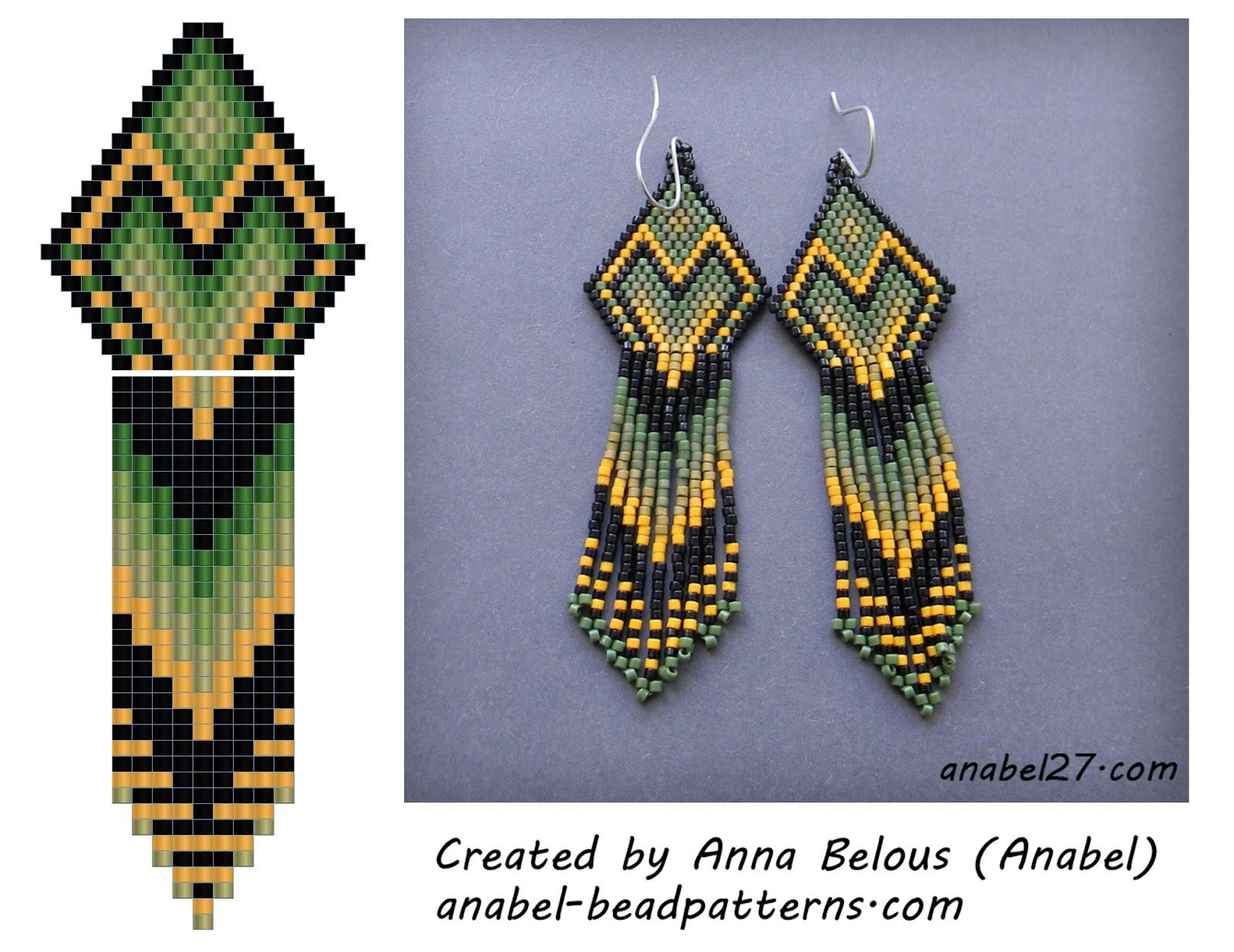 Схема сережек - мозаичное / кирпичное плетение