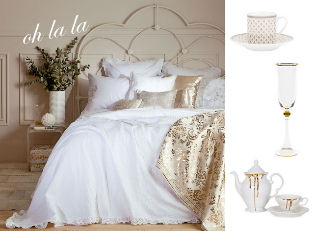 zara home, bedroom, gold and white bedroom, gold and white dishes, parisian style