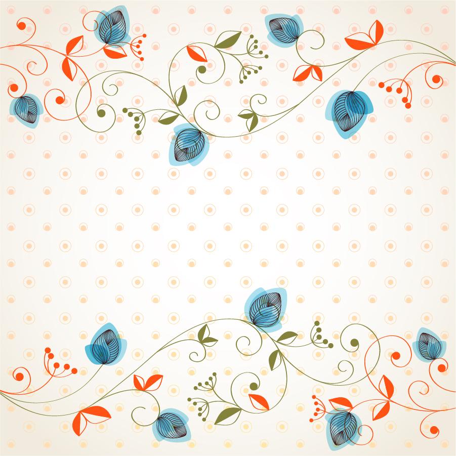 美しい植物柄ボーダーの背景 Beautiful flowers background イラスト素材