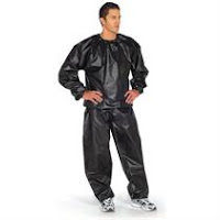 man wearing a sauna suit