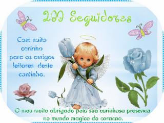 Selo comemorativo de 200 seguidores do blog da Maria Alice Cerqueira