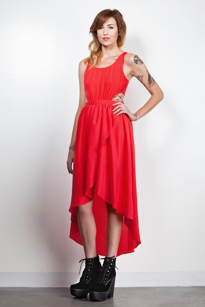 summer red high low dress