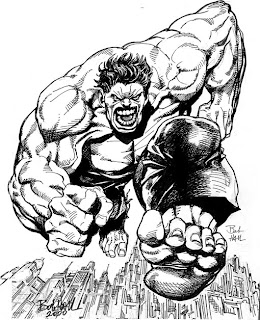 the incredible HULK the avengers black and white