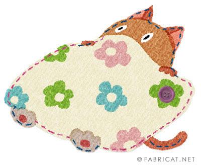 布団に入っている可愛い猫のイラスト