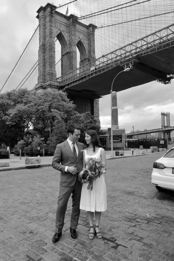 Cobblestones and Brooklyn Bridge - Newlyweds