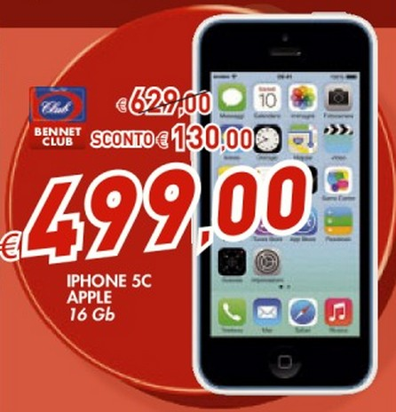 A 499 euro con la carta Bennet Club potete acquistare un iPhone 5C 16 GB