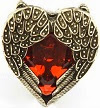 Image: Retro Bronze Angel Wings Red Heart Ring