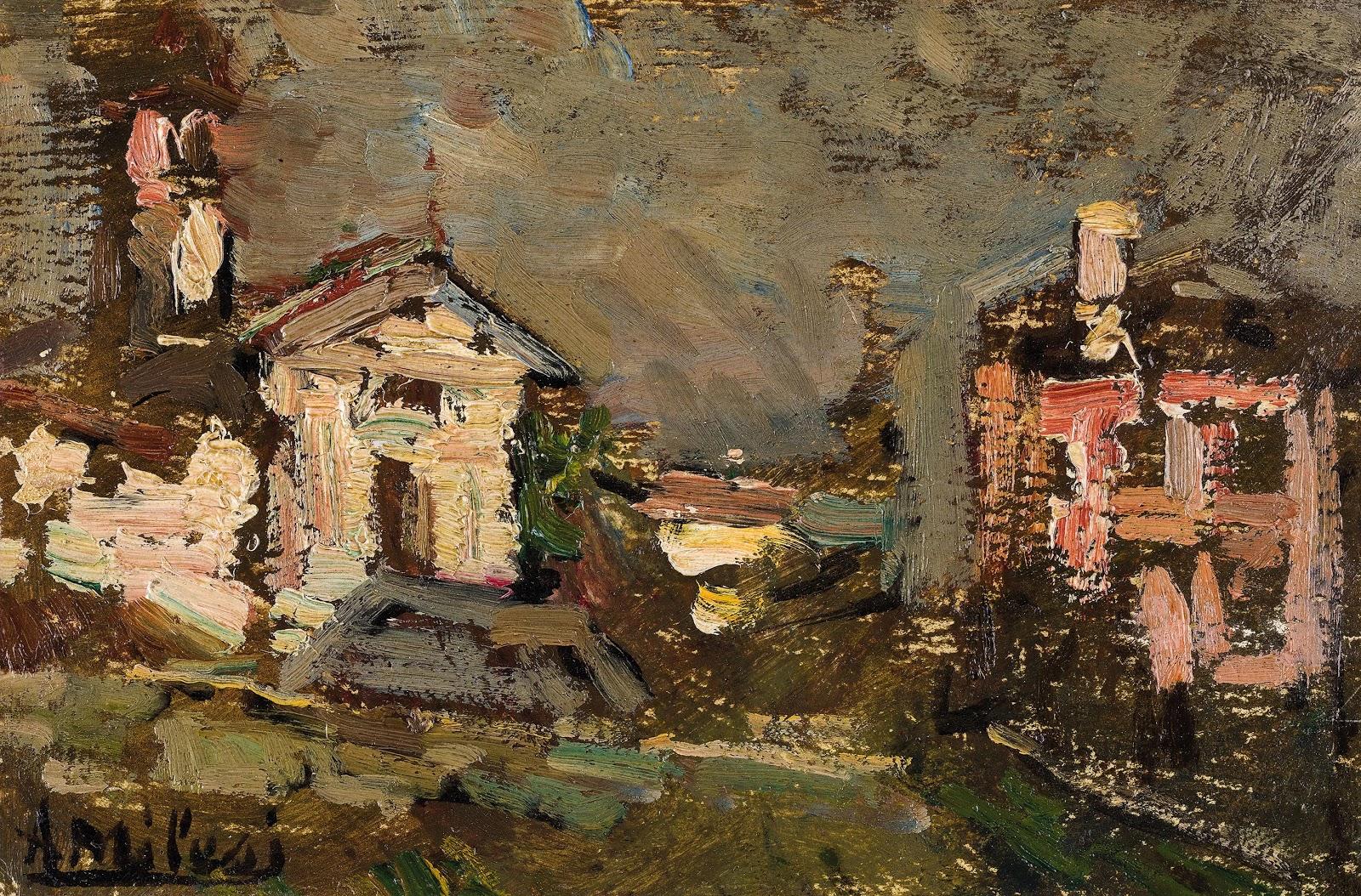 Alessandro Milesi Pesaggio  invernale  con  chiesetta