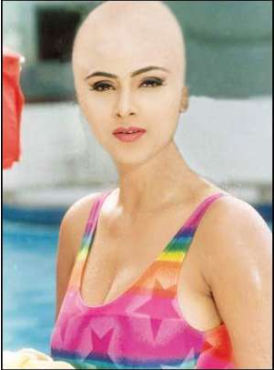 Bald beauty of actress
