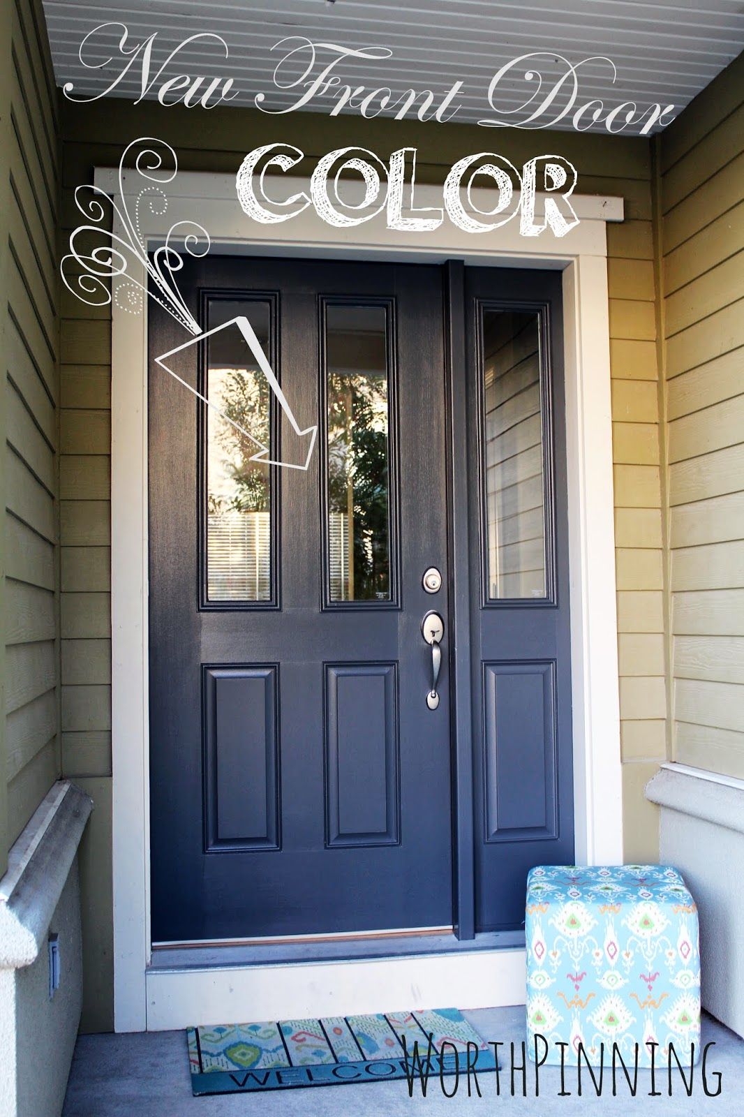 Worth Pinning Gray Door Or Teal Door How About Both: dark green front door paint