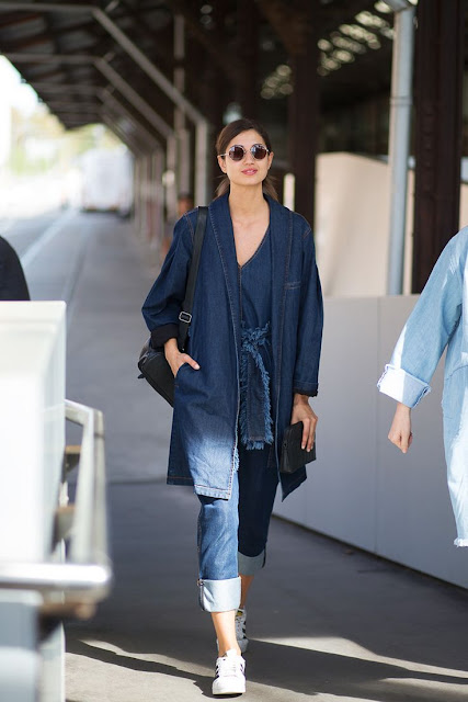 Tendencia 2015 Denim trench-coat, casaco comprido de ganga, trench-coat de ganga