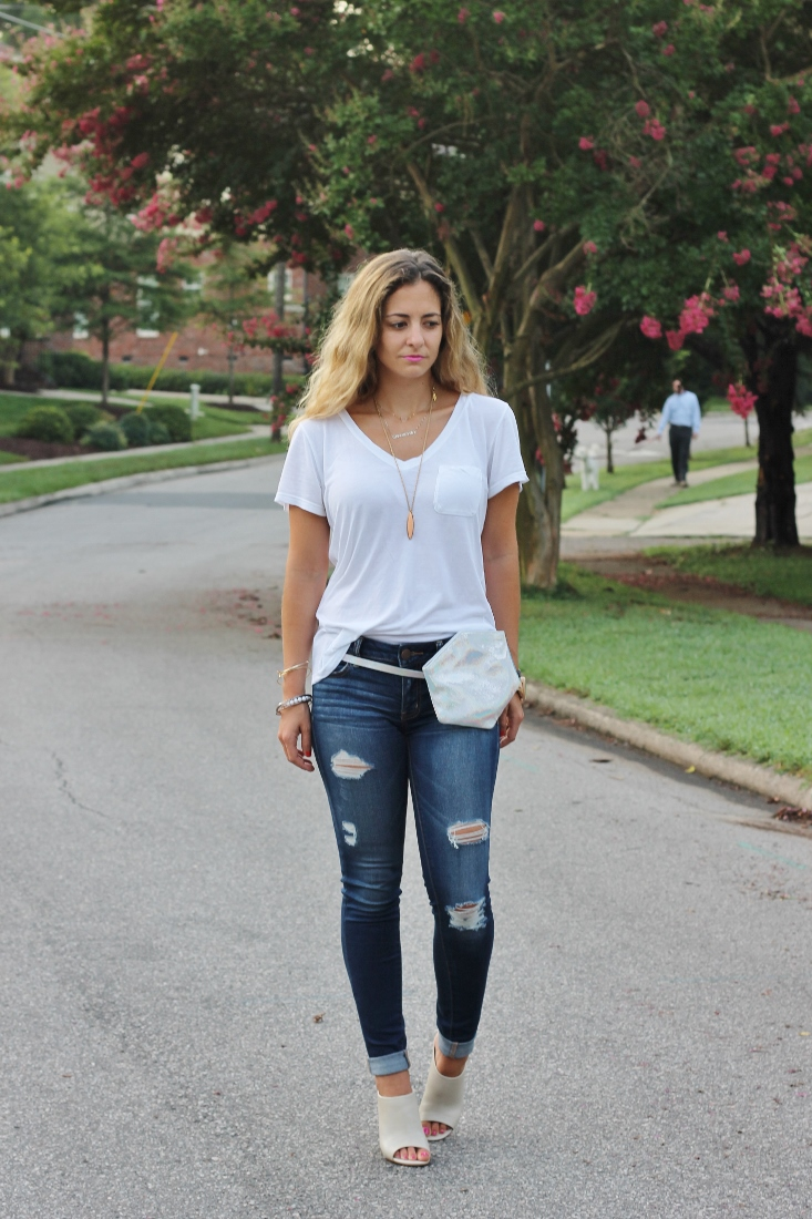 Messy Ombre Hair with white tee and jeans