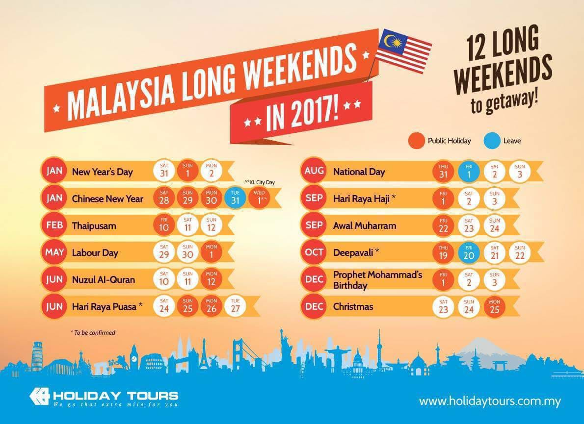Calendar May Long Weekend : Public holidays malaysia with long weekend planner