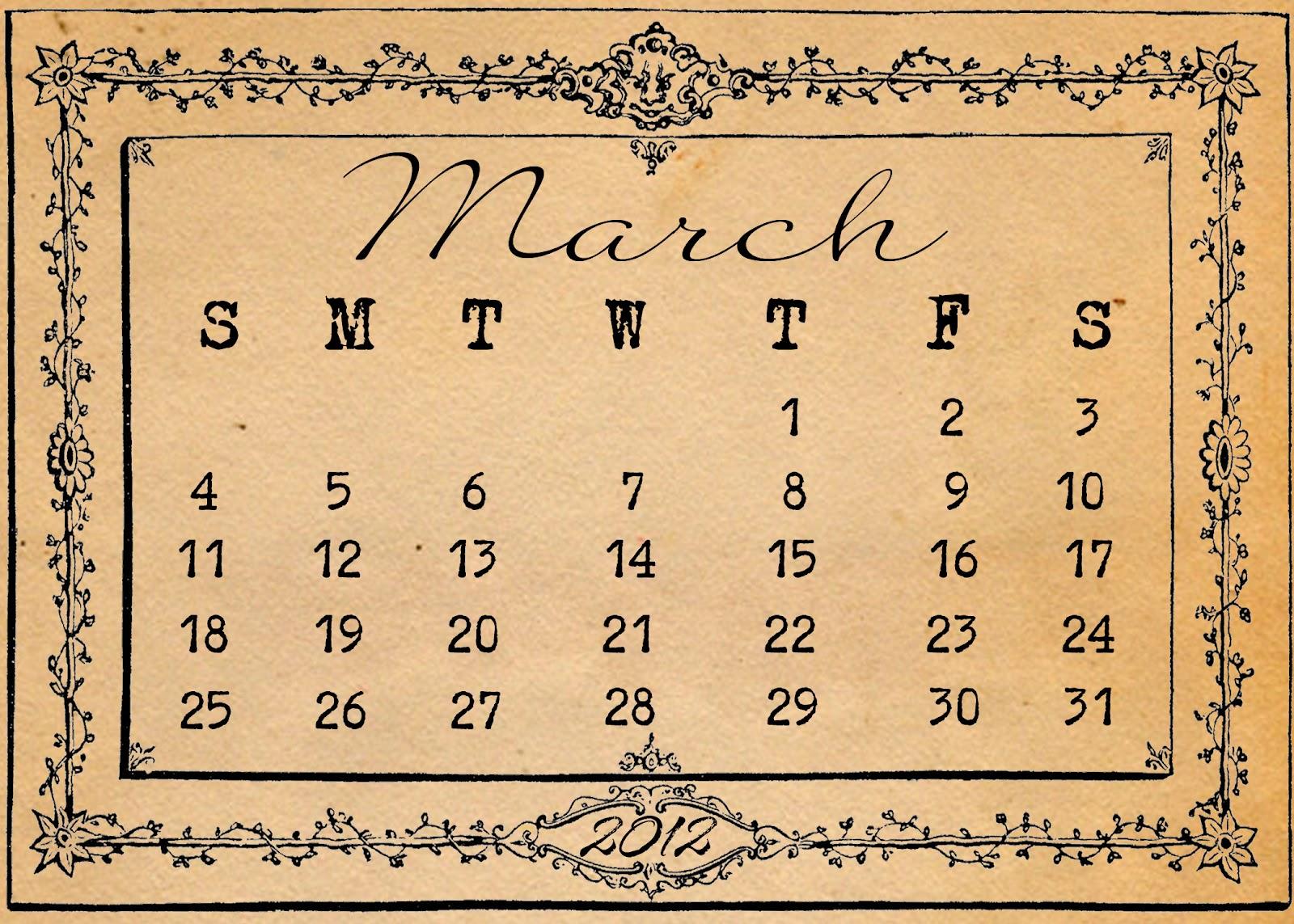 Calendar Vintage : Wild heart friday freebie march calendar