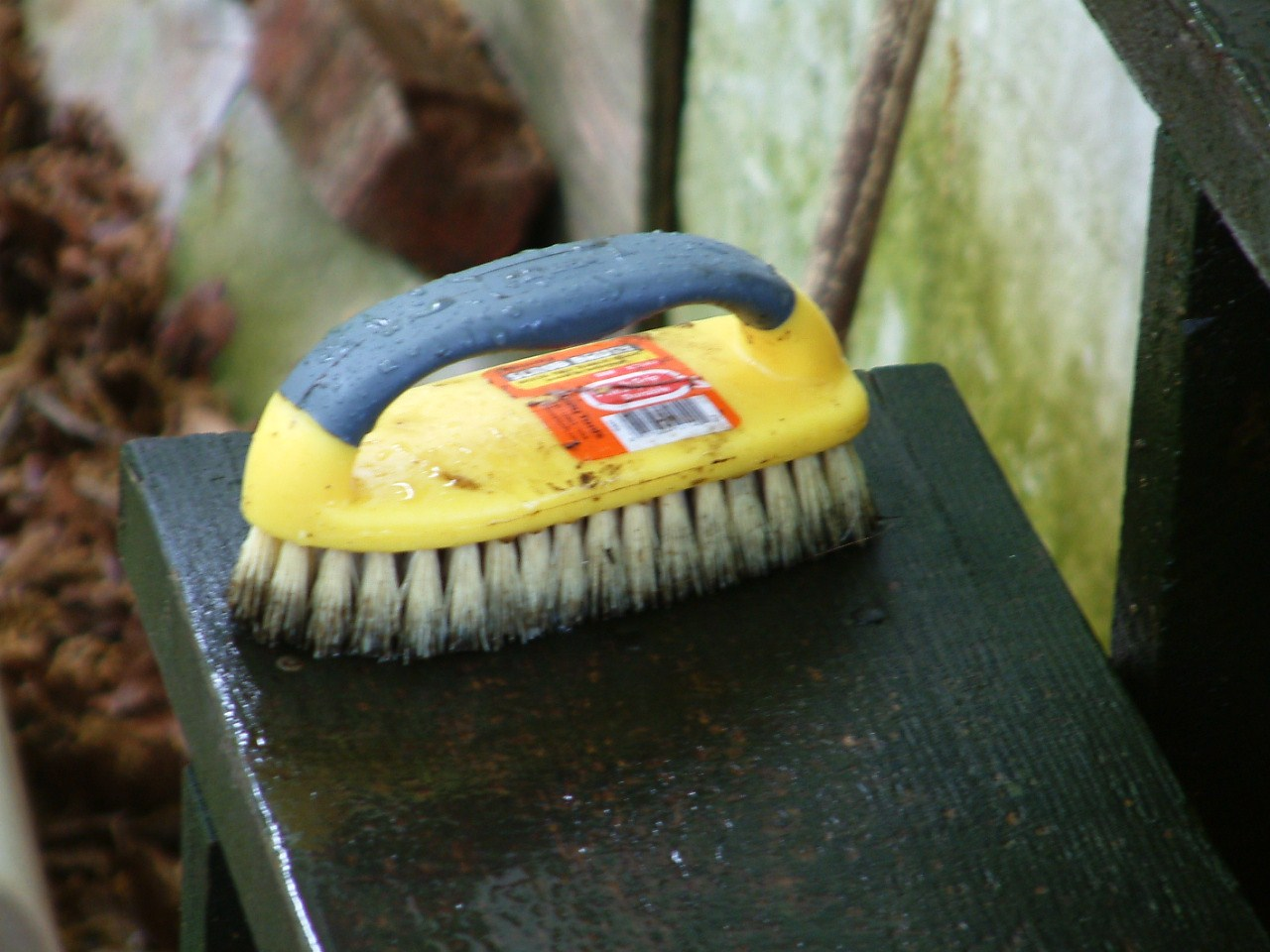 We used a couple of hard scrub brushes to really scrub the gunk off