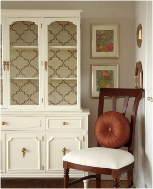 Re-fresh a China hutch with wallpaper