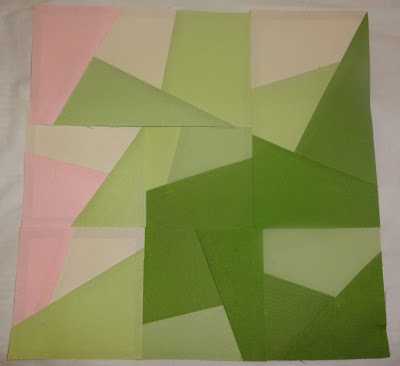 pervalong PP paper pieced quilt kona pink green