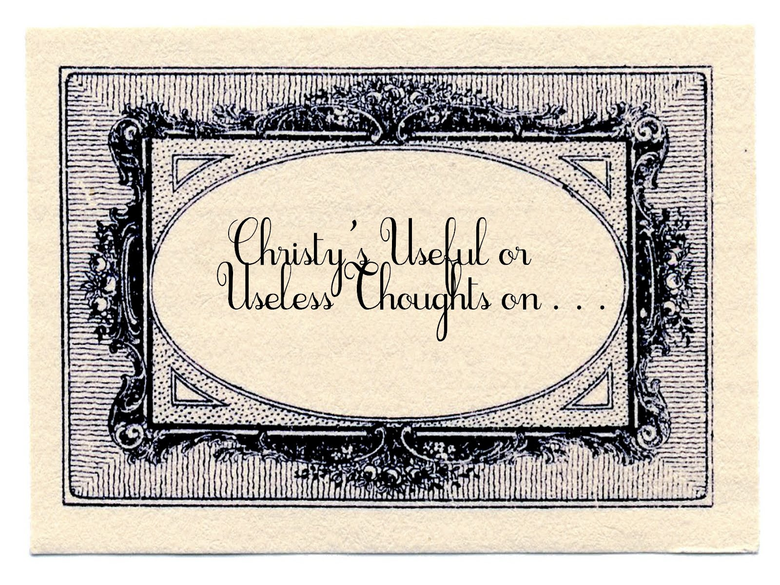 Chritsy's Useless or Useful Thoughts