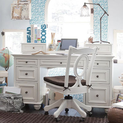 kids white study room furniture