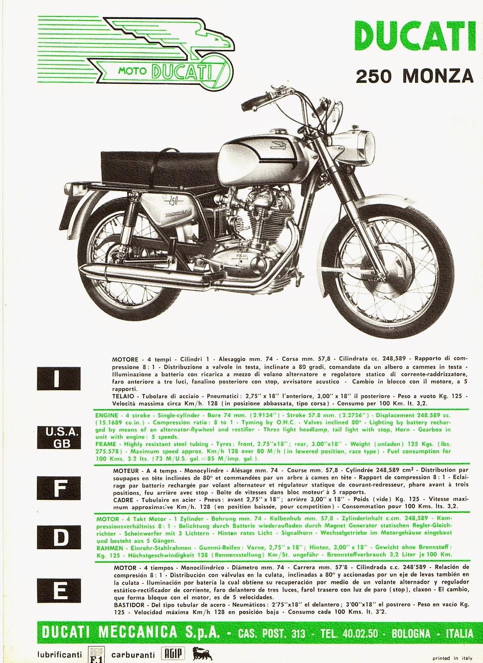 Ducati 250 Monza brochure