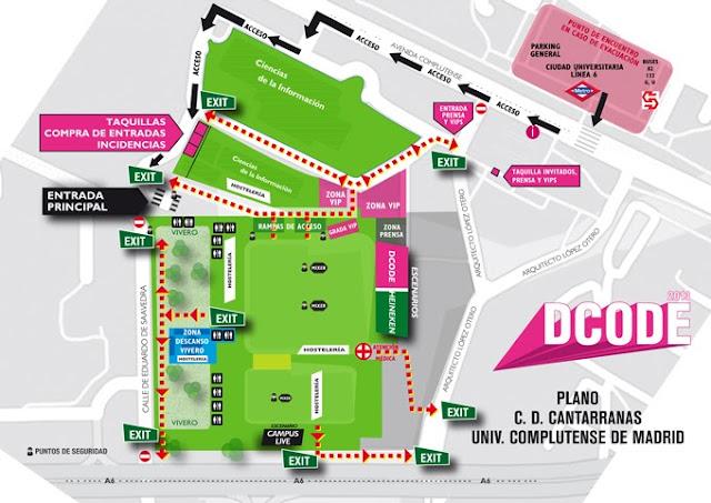 DCode, 2013, Plano, Información, Accesos, Horarios