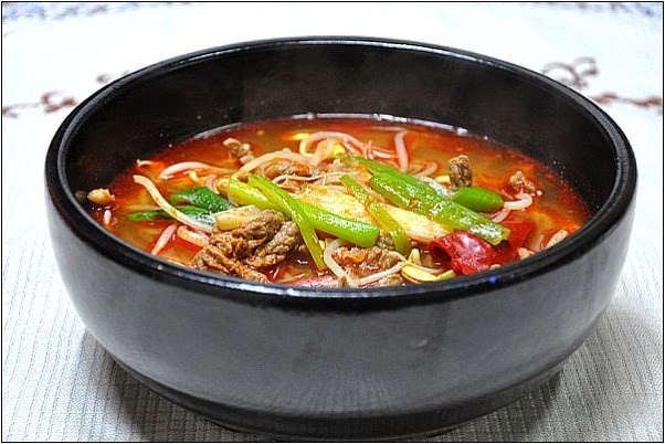 Image of a red stew in a bowl --Hangover Stew