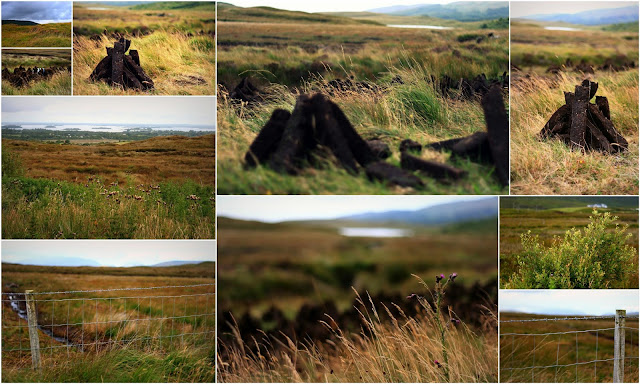 a collage of images from Connemara with turf and grass and lakes