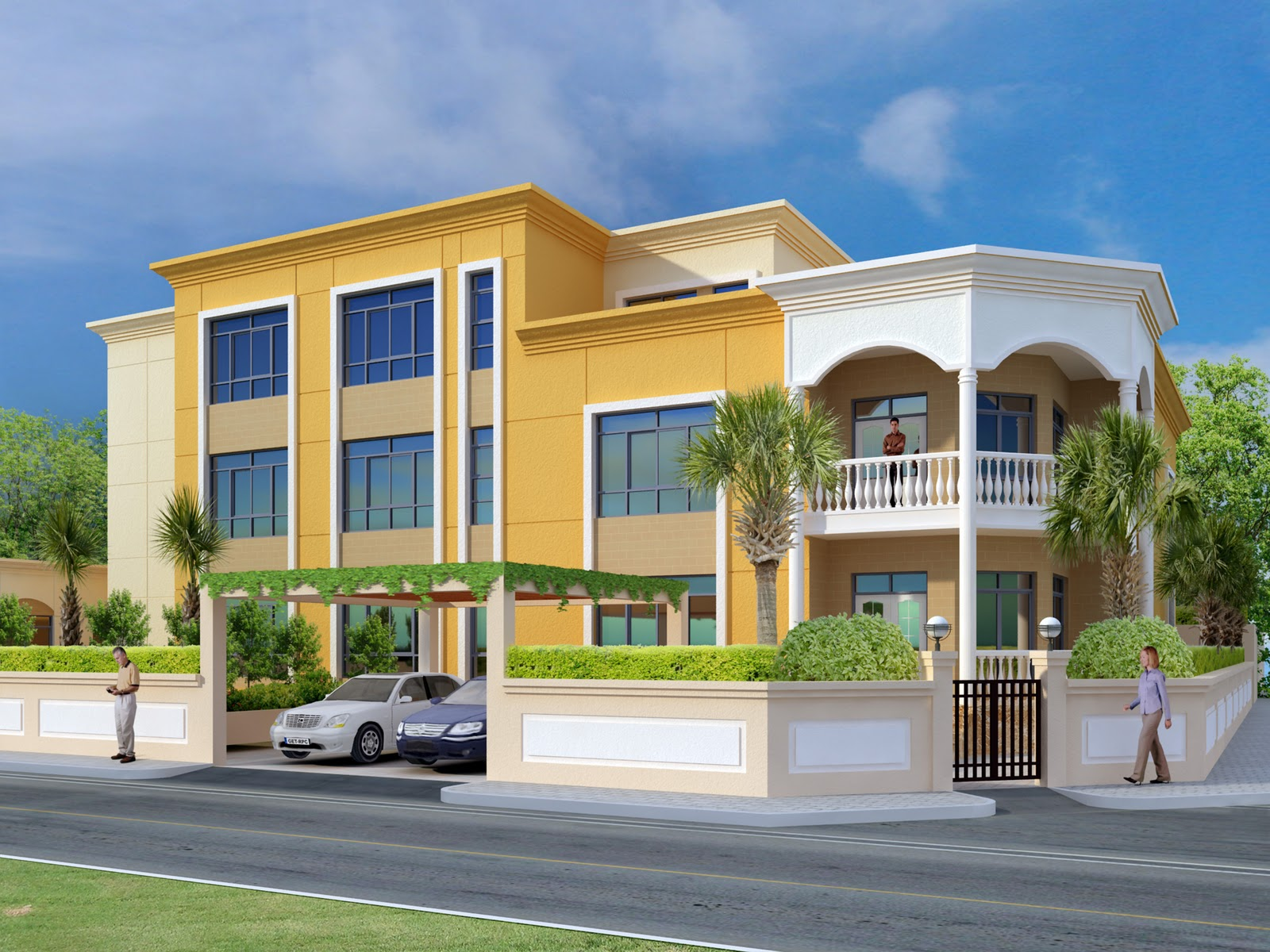 3D Front Elevation of Houses