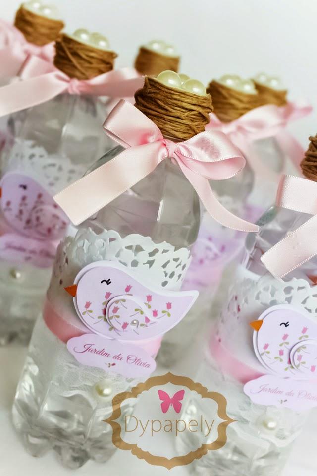 garrafinhas personalizadas passarinho jardim ninho rosa